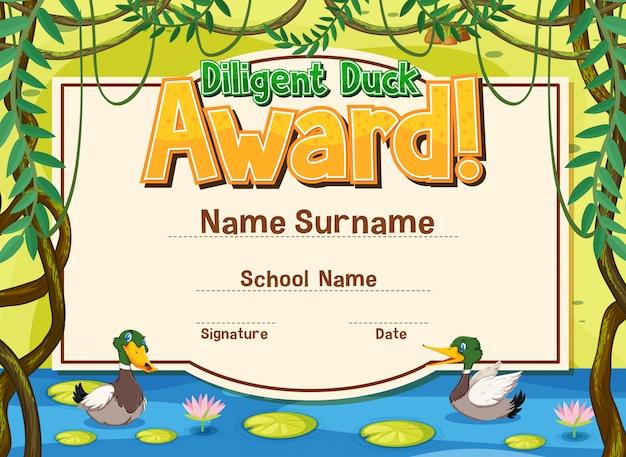 Plantilla de certificado para premio de pato diligente con patos en el estanque