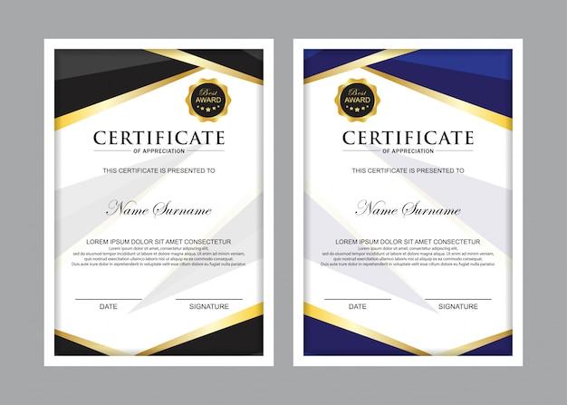 Plantilla de certificado premium con color negro y azul