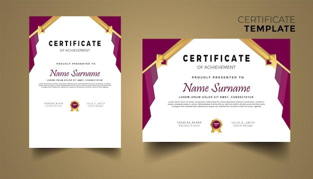 Plantilla de certificado premium con diseño geométrico dorado