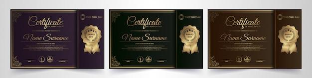 Plantilla de certificado premium dorado negro
