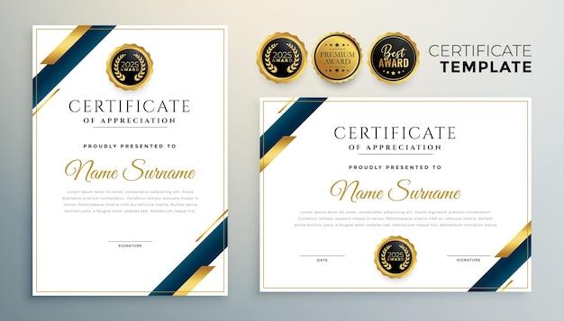 Plantilla de certificado premium con formas geométricas doradas