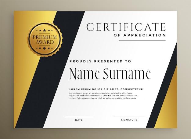 Plantilla de certificado premium multipropósito geométrico dorado