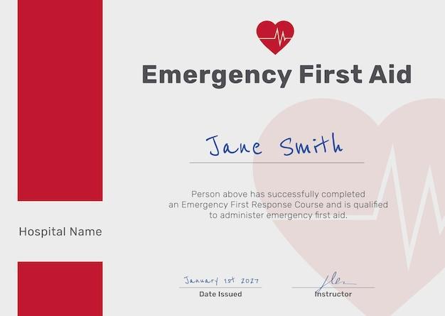 Plantilla de certificado de primeros auxilios en rojo y blanco