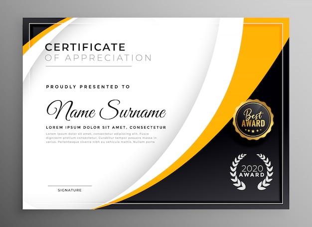 Plantilla de certificado profesional diploma premio diseño