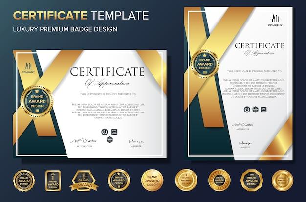Plantilla de certificado profesional vector de lujo bakcground