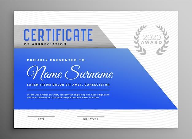 Plantilla de certificado de reconocimiento azul abstracto