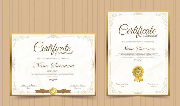 Plantilla de certificado de reconocimiento con borde dorado vintage - vector
