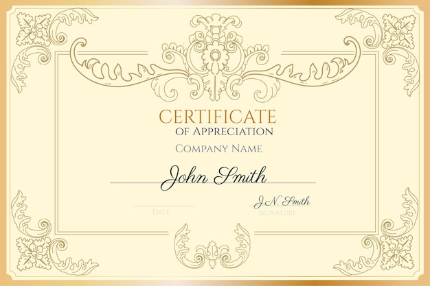 Plantilla de certificado de reconocimiento dibujado a mano