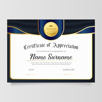 Plantilla de certificado de reconocimiento con diseño clásico
