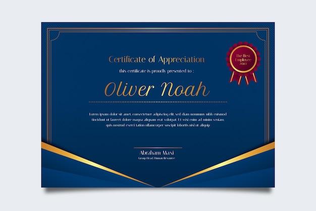 Plantilla de certificado de reconocimiento elegante degradado