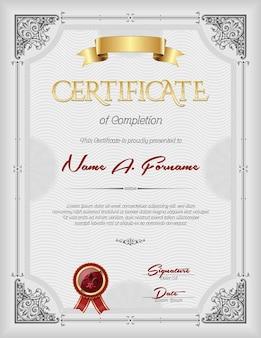 Plantilla de certificado de reconocimiento vintage con marco ornamental