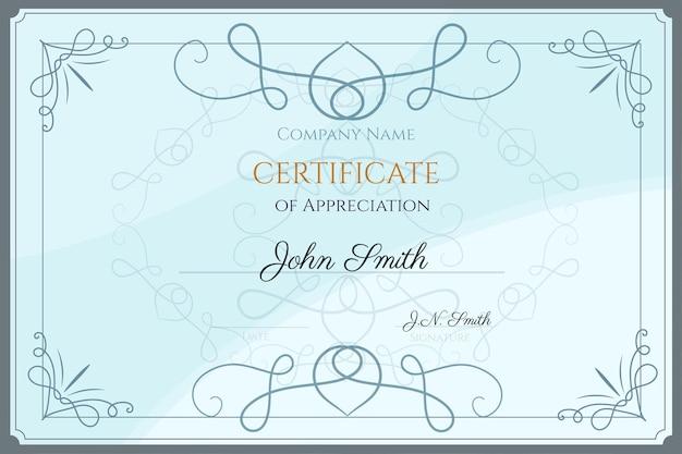 Plantilla de certificado de reconocimiento
