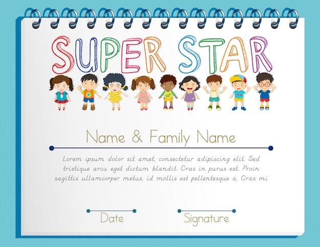 Plantilla de certificado para super estrella con muchos niños.