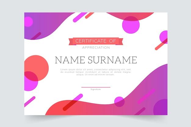 Plantilla de certificado de tonos vivos geométricos coloridos