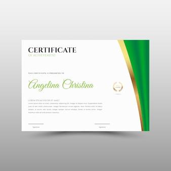 Plantilla de certificado verde con franja dorada para el logro