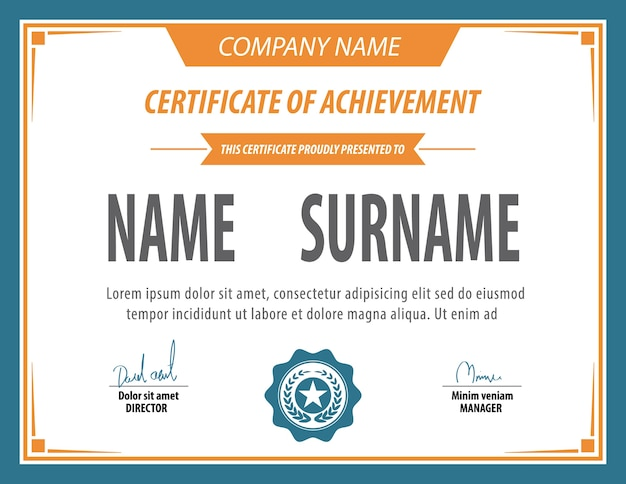 Plantilla de certificado vintage horizontal.