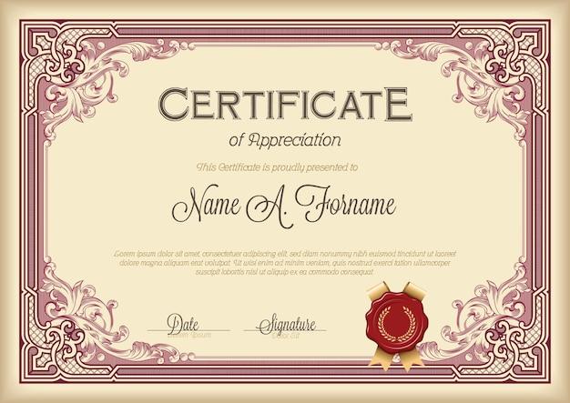 Plantilla de certificado vintage