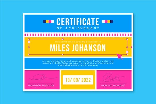 Plantilla de certificados de diseño de cuadrícula
