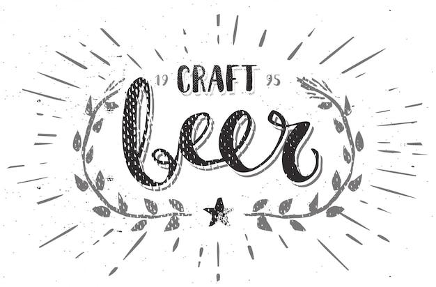 Plantilla cerveza artesanal cepillo pluma caligrafía dibujada mano