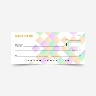 Plantilla de cheque en blanco degradado