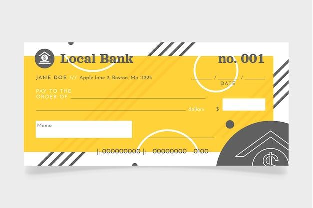 Plantilla de cheque en blanco de diseño plano