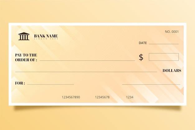 Plantilla de cheque en blanco minimalista