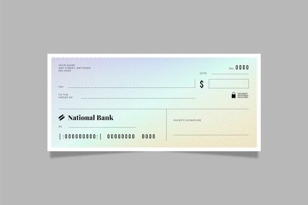 Plantilla de cheque en blanco plano lineal