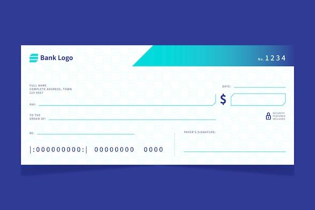 Plantilla de cheque en blanco plano