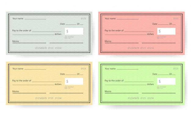 Plantilla de cheque en blanco. plantilla de cheque bancario.