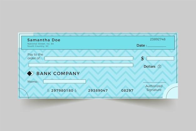 Plantilla de cheque lineal plano en blanco