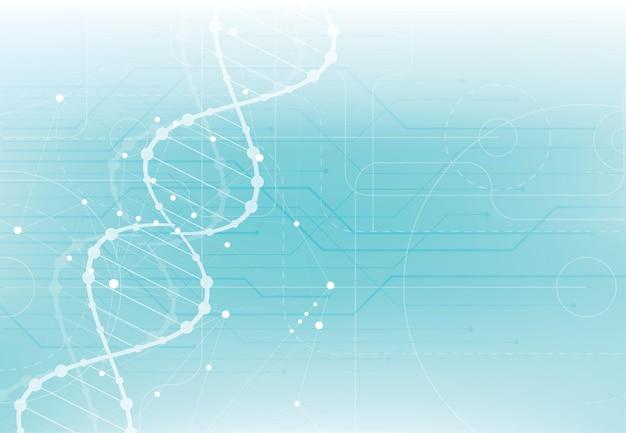 Plantilla de ciencia, papel tapiz o pancarta con moléculas de adn.