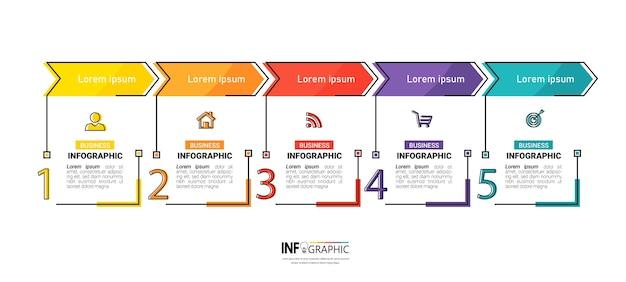 Plantilla de cinco pasos de infografía creativa
