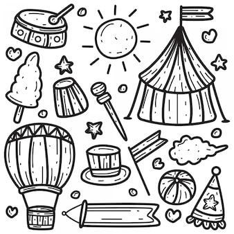 Plantilla de circo kawaii doodle