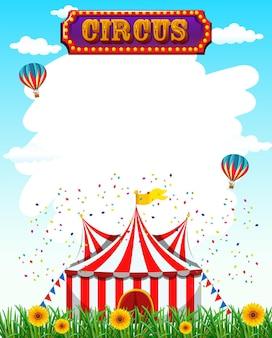 Plantilla de circo con letrero, carpa, césped y flores.