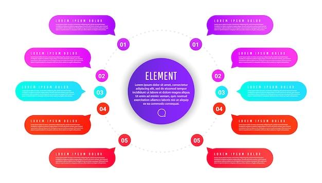 Plantilla de círculo empresarial de presentación con elementos redondos coloridos