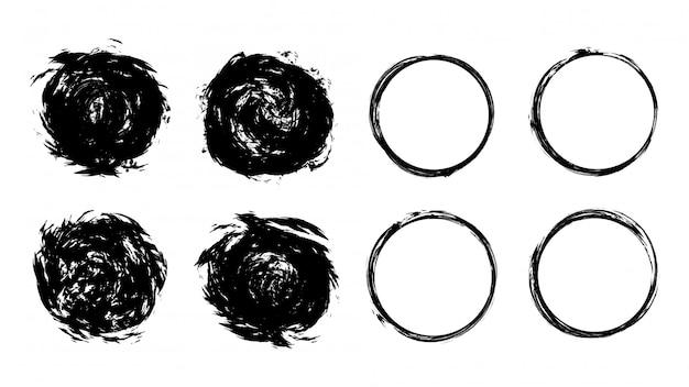 Plantilla de círculo grunge negro