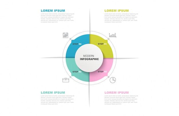 Plantilla de círculo infográfico con iconos y 4 pasos u opciones.