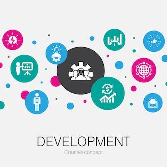 Plantilla de círculo de moda de desarrollo con iconos simples. contiene elementos tales como solución global, conocimiento, inversor, lluvia de ideas