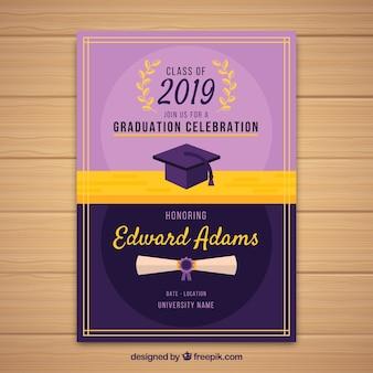 Plantilla clásica de invitación de graduación con diseño plano