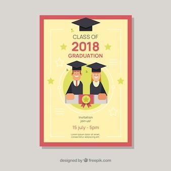 Plantilla clásica de invitación a graduación con diseño plano