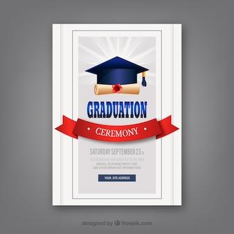 Plantilla clásica de invitación a graduación con diseño realista