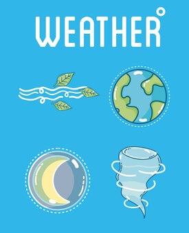 Plantilla de clima y pronóstico con elementos