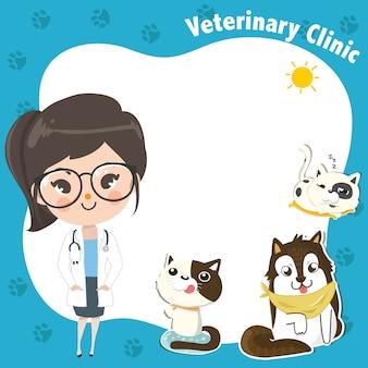 Plantilla para una clínica veterinaria con una doctora y mascotas.