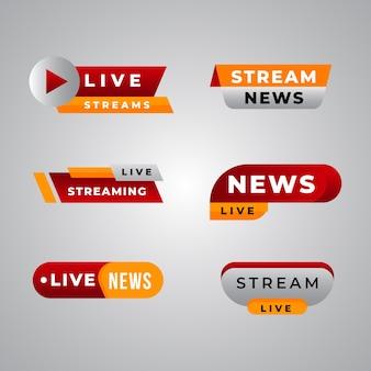 Plantilla de colección de banner de noticias de transmisiones en vivo