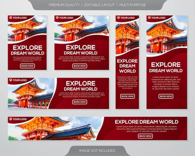Plantilla de colección de banner de promoción de viajes