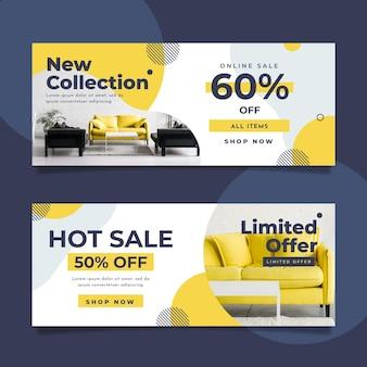 Plantilla de colección de banners de venta de muebles con foto