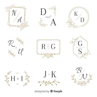 Plantilla de colección de boda monograma