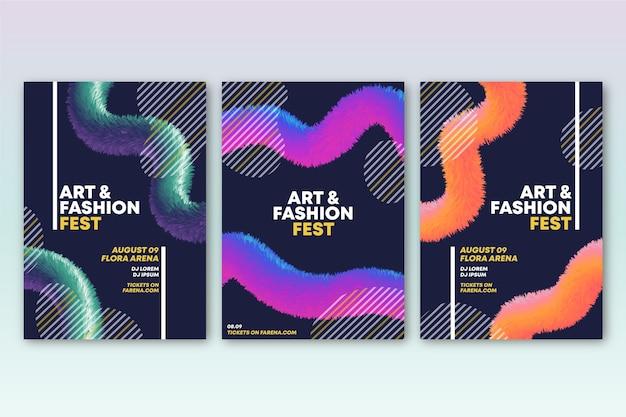 Plantilla de colección de cubierta colorida abstracta
