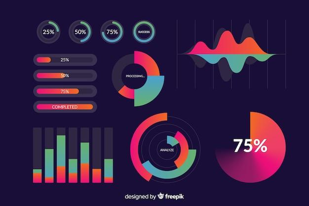 Plantilla de colección de elementos de infografía degradado