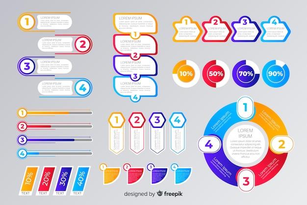 Plantilla de colección de elementos de infografía plana